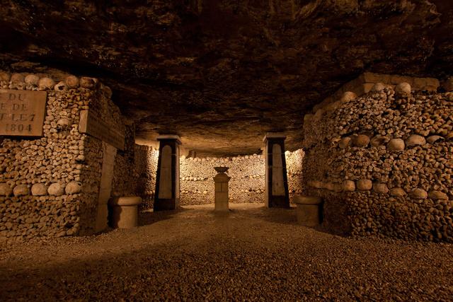 In the Paris Catacombs.