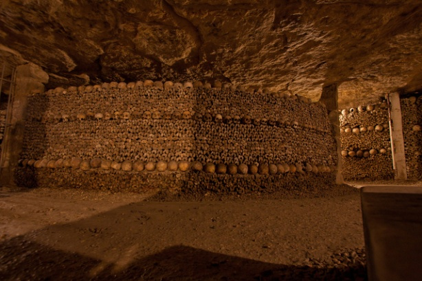 In the Paris Catacombs.