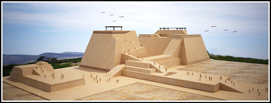 Una reconstrucción de la Huaca Rajada que muestra dos pirámides de adobe y una plataforma