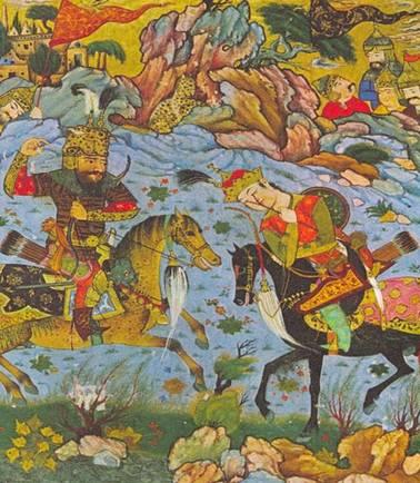 Naqsh-e Rustam fue llamado así por la legendaria figura de Rustam, quien aparece representado aquí matando a Esfandyar. Miniatura medieval persa. (en.wikipedia.org) -