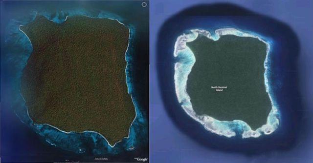Fotografía de satélite comparando la isla antes del tsunami de 2004 y después. Se aprecia que el contorno de tierra firme permanece invariable, pero el arrecife pasa de estar sumergido a completamente expuesto.