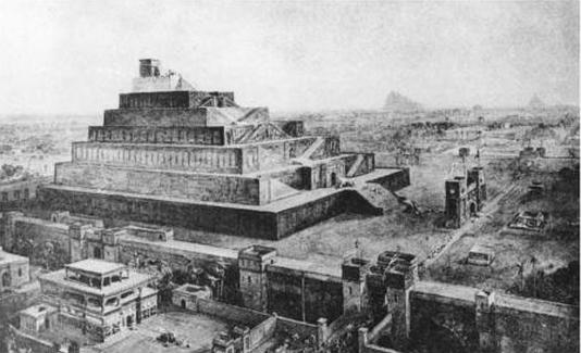 Reconstrucción del zigurat de Babilonia, M. Jastrow, «Babylonia and Assyria» (1917)