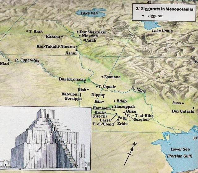 Mapa con las localizaciones de los zigurats que quedan en pie