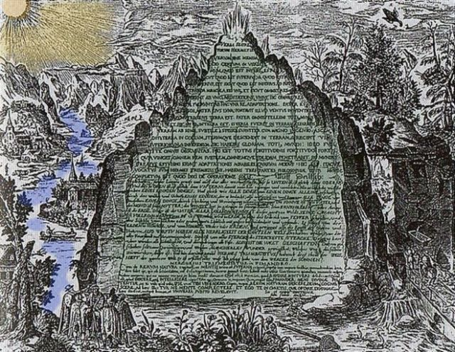 Dicen que estaba escrita en esmeralda o cristal o roca verde. Así se la imaginó en el siglo XVII el físico, alquimista y filósofo hermético alemán Heinrich Khunrath.