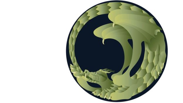 Los uróboros son serpientes o dragones mordiéndose su propia cola y fueron adoptados como símbolos tanto de la alquimia y del Hermetismo, para representar conceptos como la perpetuamente cíclica renovación de la vida, el infinito, la eternidad.