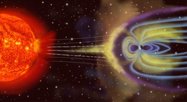 La interacción del viento solar con la magnetosfera de la Tierra. Wikimedia Commons