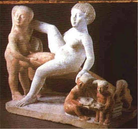 Grupo obsceno. Periodo Ptolemaico, c. 332-30 a. C, Colección Aegyptiaca del Museo de El Cairo